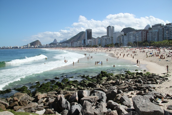 Beach crowds on Copacabana beach in Rio
