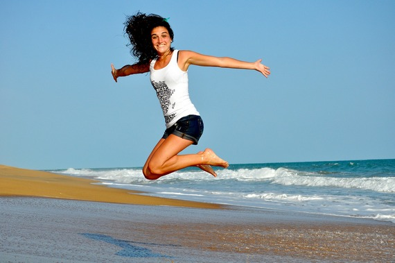 Woman jumping for health