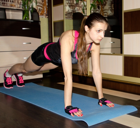 Doing push ups at home