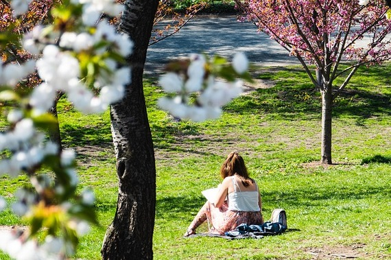 A girl reading a book in the park.