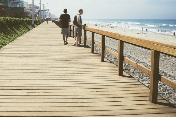 Walking on beach pier